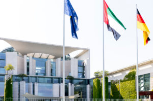 Federal Chancellery, facade, banner, flags, government district, Berlin, Germany
