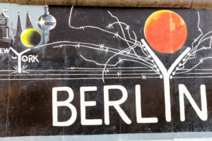East Side Gallery, wall painting, graffiti of former Berlin Wall, Friedrichshain, Berlin, Germany