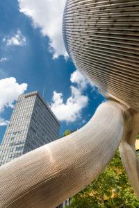 Sculpture Berlin, artwork, Tauentzienstrasse, monumental, gate-like, sculpture, chrome-nickel steel tubes, Berlin, Germany