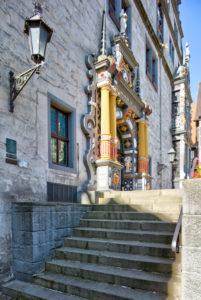 Hausfassade, Rathaus, Weserrenaissance, Schauseite,  Altstadt, Hann. Münden, Niedersachsen, Deutschland, Europa