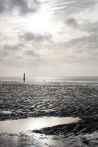 Wadden Sea, evening, dusk, blue hour, Norddeich, north, North Sea, East Frisia, Lower Saxony, Germany,
