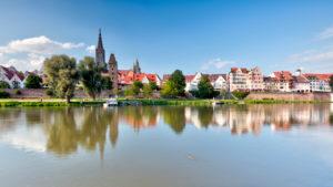 Stadtbefestigung, Metzgerturm, Fischerviertel, Ulmer Münster, Donau, Altstadt, Ulm, Baden-Württemberg, Deutschland