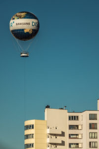 Hot air balloon at Potsdamer Platz in the air