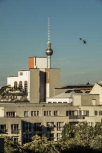 Blick über den Potsdamer Platz bis zum Alexanderplatz mit Vögeln in der Luft