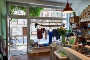 Jojeco, a shop selling fair trade fashion in the Magni Quarter of Braunschweig, Germany