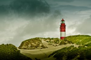 Deutschland, Schleswig-Holstein, Amrum, Dünen, Leuchtturm,