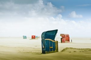 Germany, Schleswig-Holstein, Amrum, sandy beach, sandbar, Kniepsand, beach chairs,
