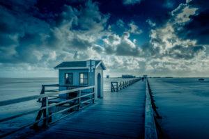 Germany, Schleswig-Holstein, Sankt Peter-Ording, beach, bridge, sandbank