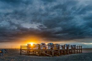 Germany, Schleswig-Holstein, Sankt Peter-Ording, beach tents