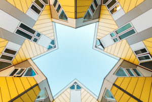 cubus houses Rotterdam, view upwards