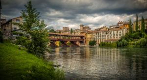 Italy, South Tirol, Veneto, Bassano del Grappa, Brenta, roofed wooden bridge, Ponte degli Alpini