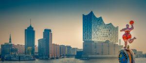 Germany, Hamburg, Harbor, HafenCity, Elbphilharmonie, sculpture 'Nana on a dolphin'