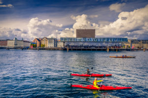 Europe, Denmark, Copenhagen, harbour, theatre
