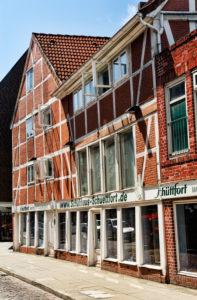 Der historische Schüttfort-Speicher am Sachsentor in Bergedorf, Hamburg, Deutschland, Europa