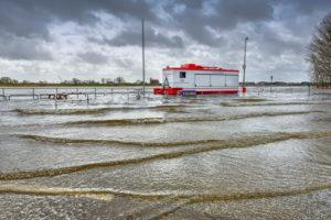 Storm surge on the landing pier of Elbe ferry Zollenspieker-Hoopte in Kirchwerder, Hamburg, Germany, Europe