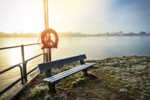 Bench covered with hoarfrost at the ferry dock on the Elbe in Kirchwerder, Vier- und Marschlande, Hamburg, Germany, Europe