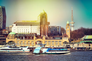 Landing stages at the Hamburg harbour, Germany, Europe
