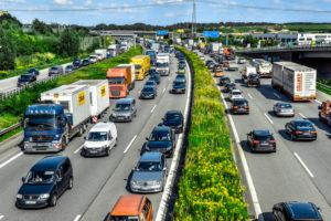 Germany, Hamburg, Moorfleet, German Motorway (Autobahn) A1, traffic jam