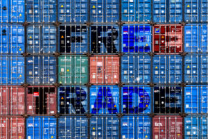 Container, inscription Free Trade, Free Trade