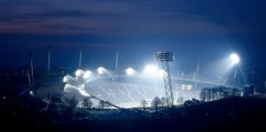 Germany, Upper Bavaria, Munich, Olympic grounds, Olympic Stadium, evening, illuminated outside Bavaria, the state capital, Olympia Park, stadium, sports stadium, pavilion roof, structure, roof, architect Günter Behnisch and Frei Otto, roofing, floodlights, floodlights, spotlights, lighting, Arena, grandstand, bleachers, sight,