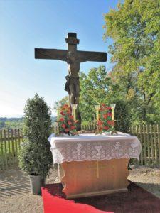 Germany, Bavaria, Andechs, Altar, Cross, Three Hosts Fest