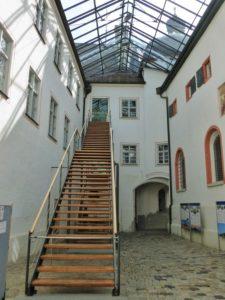 Germany, Bavaria, Andechs Monastery, courtyard, stairs