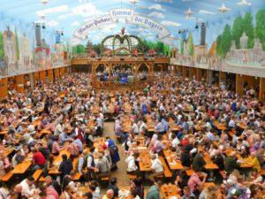 Germany, Bavaria, Munich, Oktoberfest, Hacker Pschorr marquee, interior view, guests