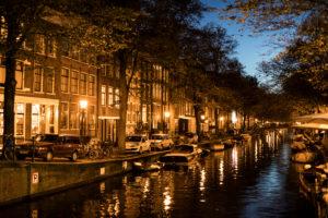 Niederlande, Holland, Amsterdam, Egelantiersgracht, Gracht, Nacht