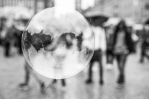 The Netherlands, Holland, Amsterdam, Dam, bursting bubble with reflexion