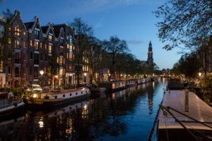 Niederlande, Holland, Amsterdam, Prinsengracht, blaue Stunde