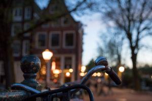 Niederlande, Holland, Amsterdam, Fahrrad, Lenker, Abend, Licht