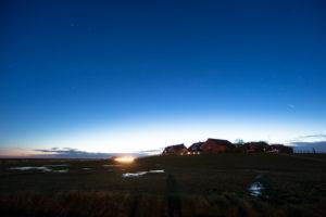 Germany, Schleswig-Holstein, Hallig Hooge, Ockelützwarft at night