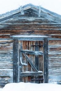 Finland, Lapland, Muonio, Keimiöniemi, fisherman's hut, detail door