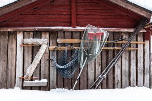 Finland, Lapland, Muonio, Keimiöniemi, fisherman's hut, lettering zoo