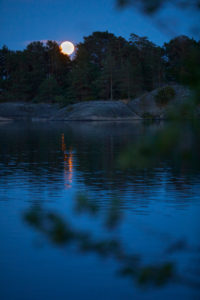 Sweden, Östergötaland, St. Anna, archipelago, Baltic Sea, evening mood, moon