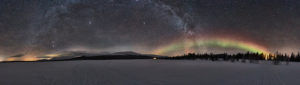 Finland, Lapland, Pallastunturi, landscape, panorama, starry sky, Milky Way, Northern Lights