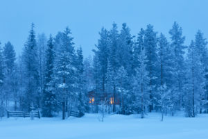Finnalnd, Lappland, Wald, Winter, Abend, Kalt, Hütte