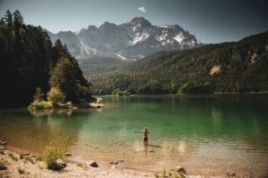 Lake Eibsee Lake, Zugspitze Massif, Bavaria