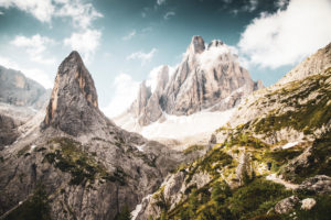 Mountain peak, Einser Kofel, part of the 'Sexten Sundial', Dolomites, South Tyrol, Italy,