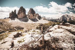 Drei Zinnen im Schatten des Krieges, Dolomiten, Südtirol, Italien,