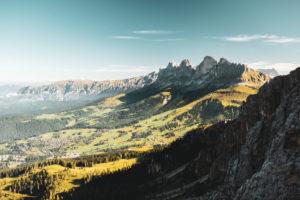Bergpanorama vom Gipfel des Sas Campac aus, Rosengarten