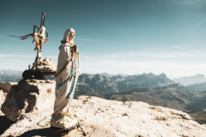 Statue of the Virgin Mary on the summit of Piz Boè, Dolomites