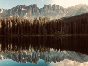 Dolomites reflected in the Karersee, evening light