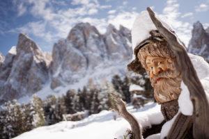 Geislerspitzen, Geisleralm, Südtirol, Sas Rigais, Wurzel, Holzfigur