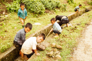Kinder, Reisfelder, Vietnam