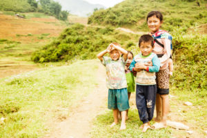 Reisfelder, Kinder in Vietnam