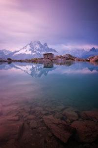 Gewitterlicht Morgen über dem Chamonix Tal, Lac Blanc, Chamonix, Haute-Savoie, Alpen, Frankreich