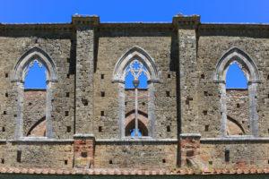 Abbazia San Galgano monastery ruins, Chiusdino municipality, Siena province, Tuscany, Italy