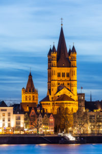 Groß St. Martin church and Rathaus tower, old town, Cologne, North Rhine-Westphalia, Germany