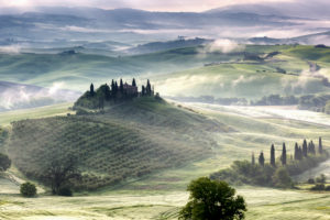 Belvedere, the landscape of the Val d'Orcia (Orciatal), Tuscany, Italy